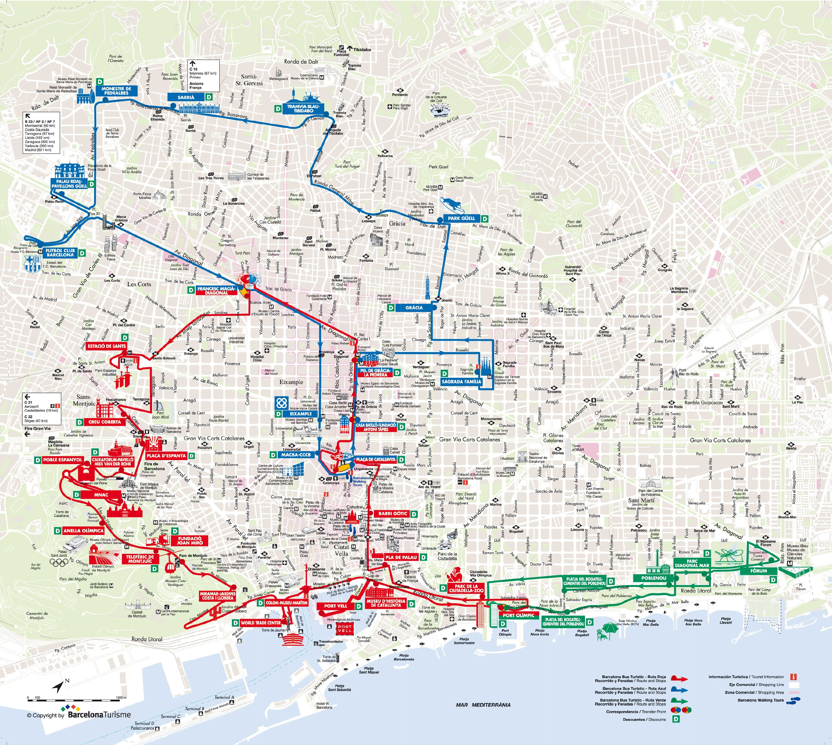 Plan et carte touristique de barcelone monuments et circuits for Bus barcelona paris barato