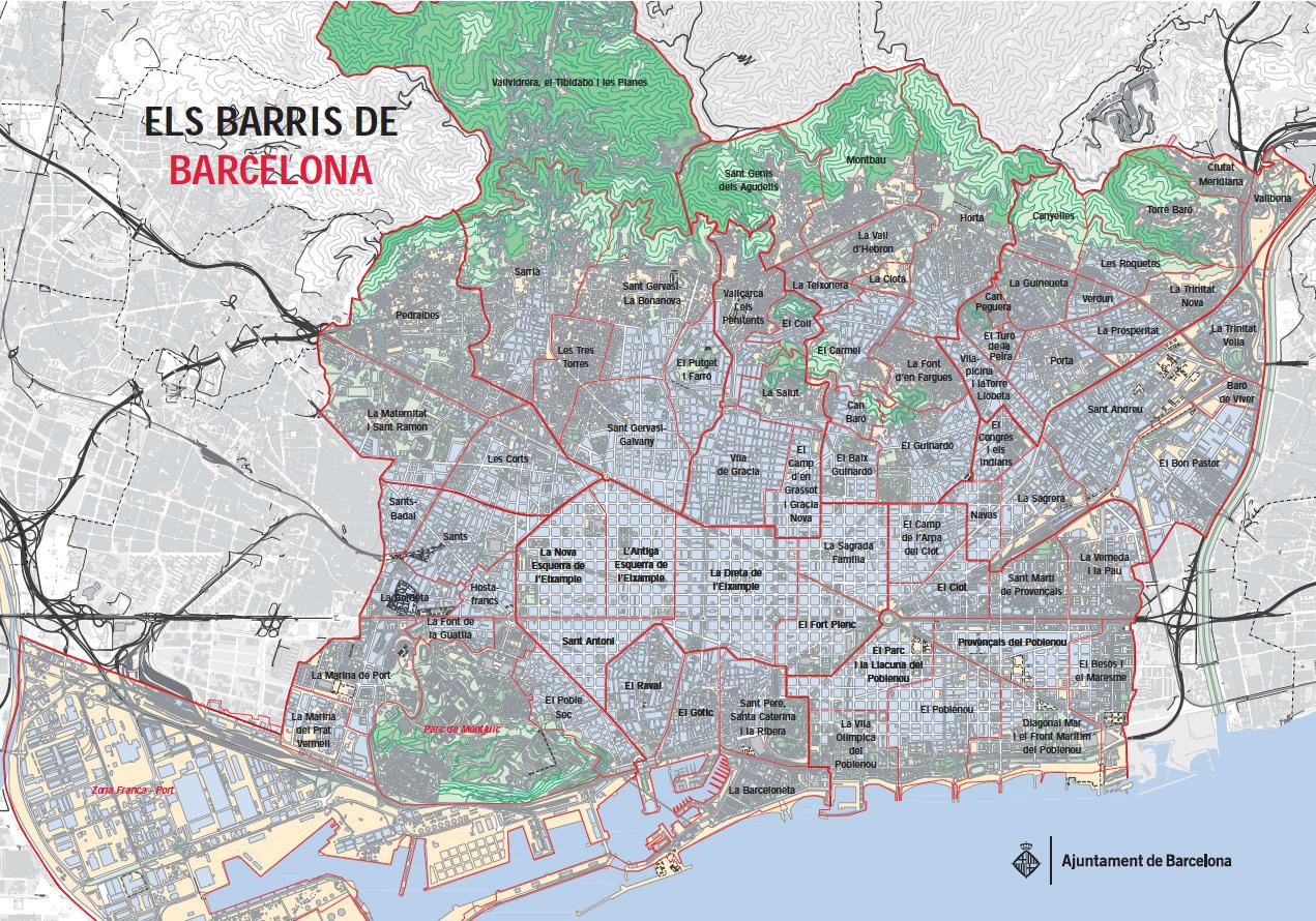 Carte Eixample Barcelone.Plan Et Carte Des 10 Arrondissements Distritos Et Quartiers De