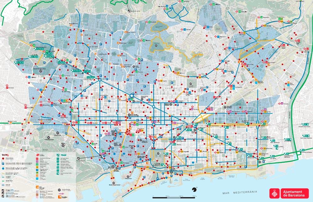 Plan et carte des pistes cyclables et stations v lo de barcelone - Carte amsterdam a imprimer ...