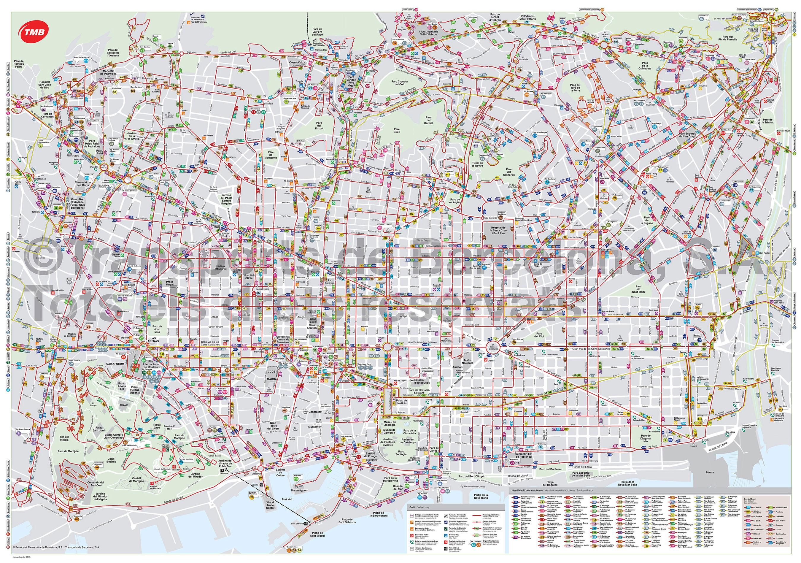 Carte Barcelone Place Despagne.Plan Et Carte De Bus Et Nitbus De Barcelone Stations Et Lignes