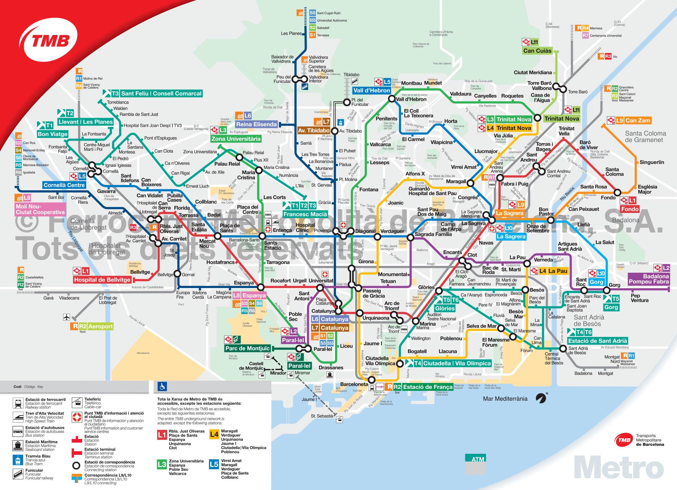 Plan et carte du métro de Barcelone : stations et lignes