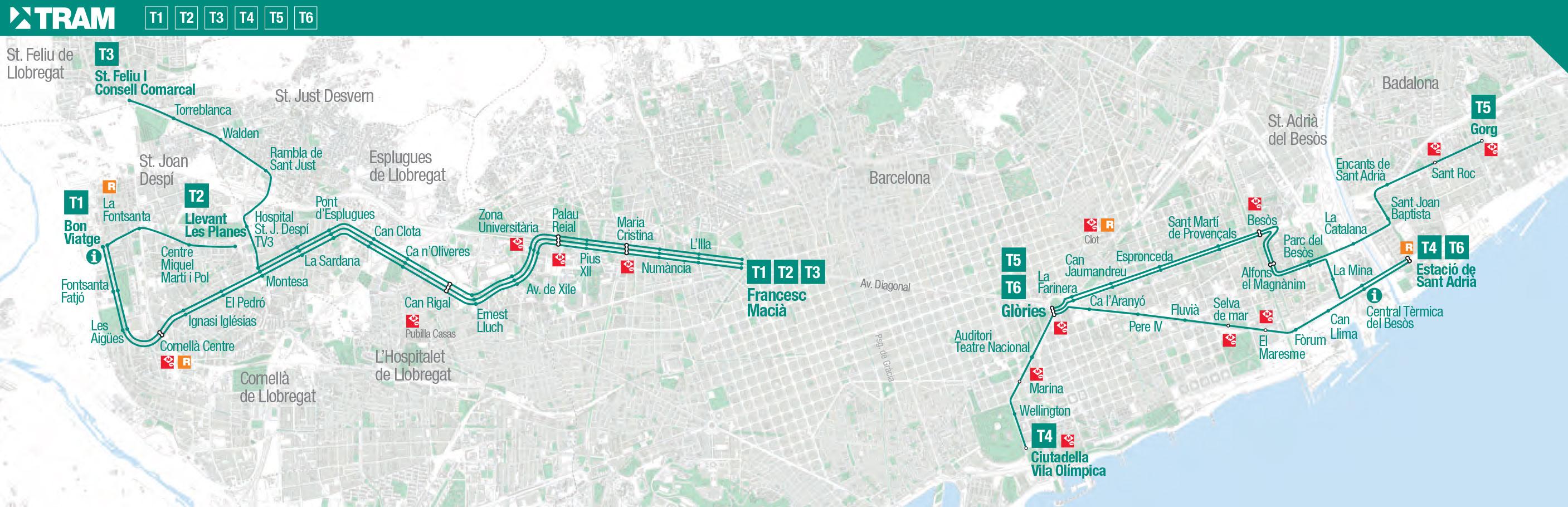 Célèbre Plan et carte du tramway de Barcelone : stations et lignes SR77